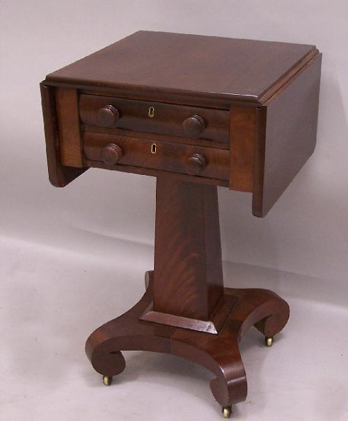 American Federal mahogany two drawer sewing stand c1820
