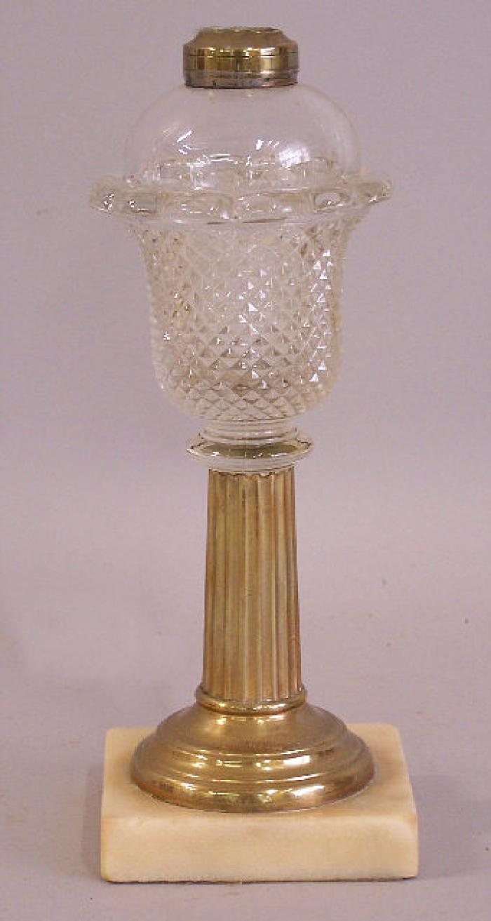 America pressed glass saw tooth brass and marble kerosene lamp