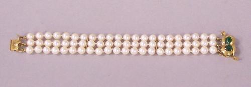 Estate 14K yellow gold pearl and jade bracelet c1960