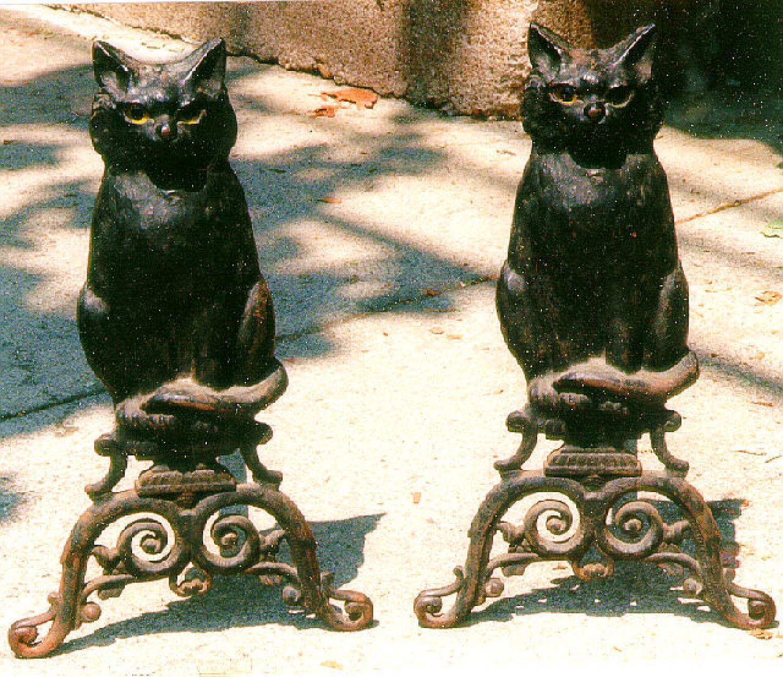 Victorian castiron cat andirons c1880