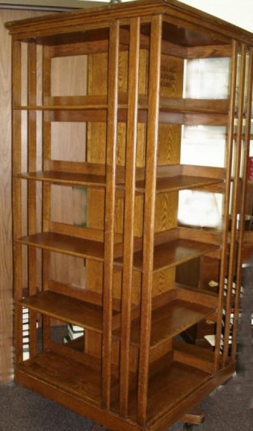 Antique oak rotating bookcase c1900