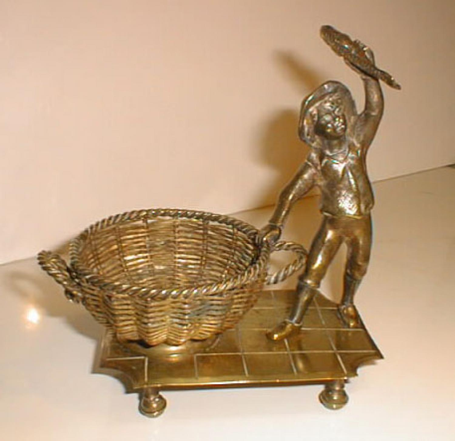 Brass Figure of a Fisherman fish and basket