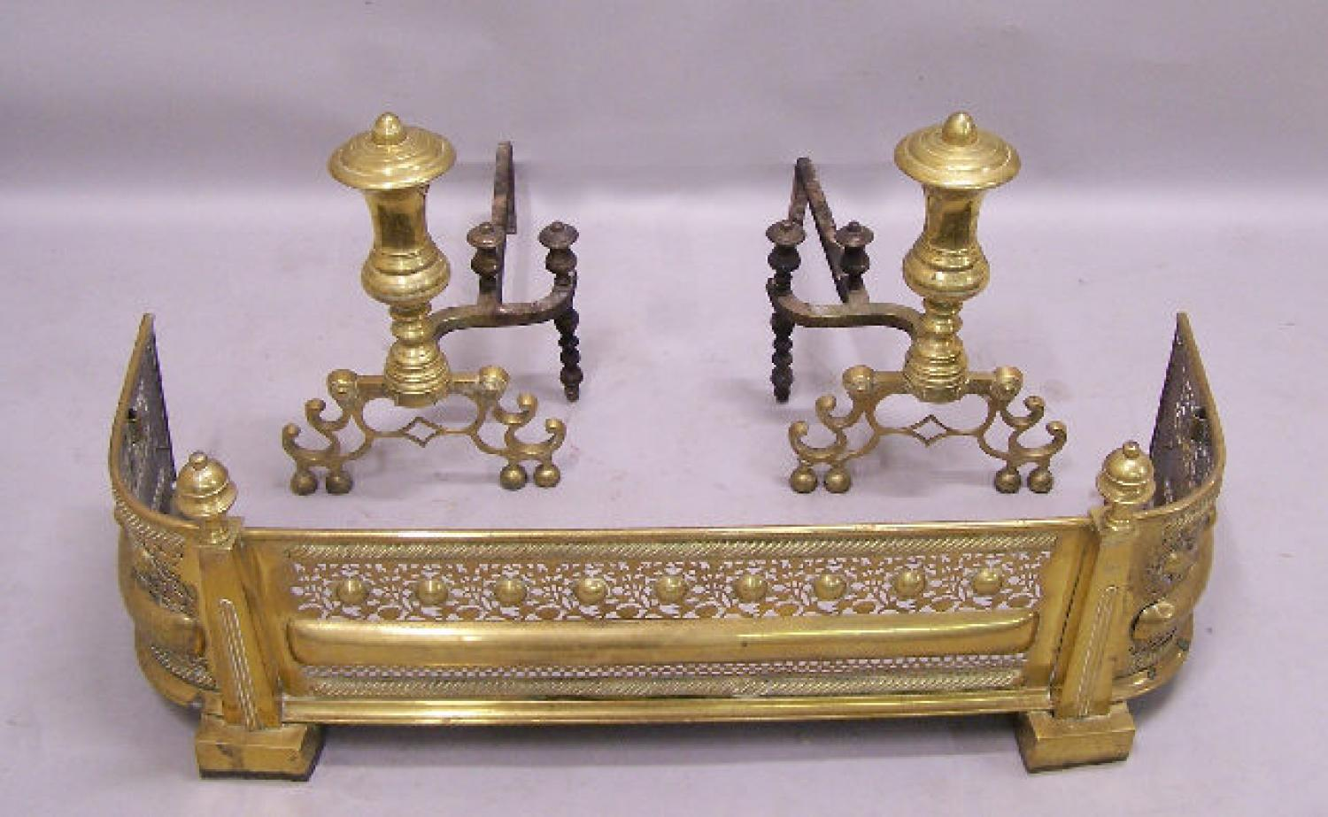 Russian brass fireplace fender and andirons c1880