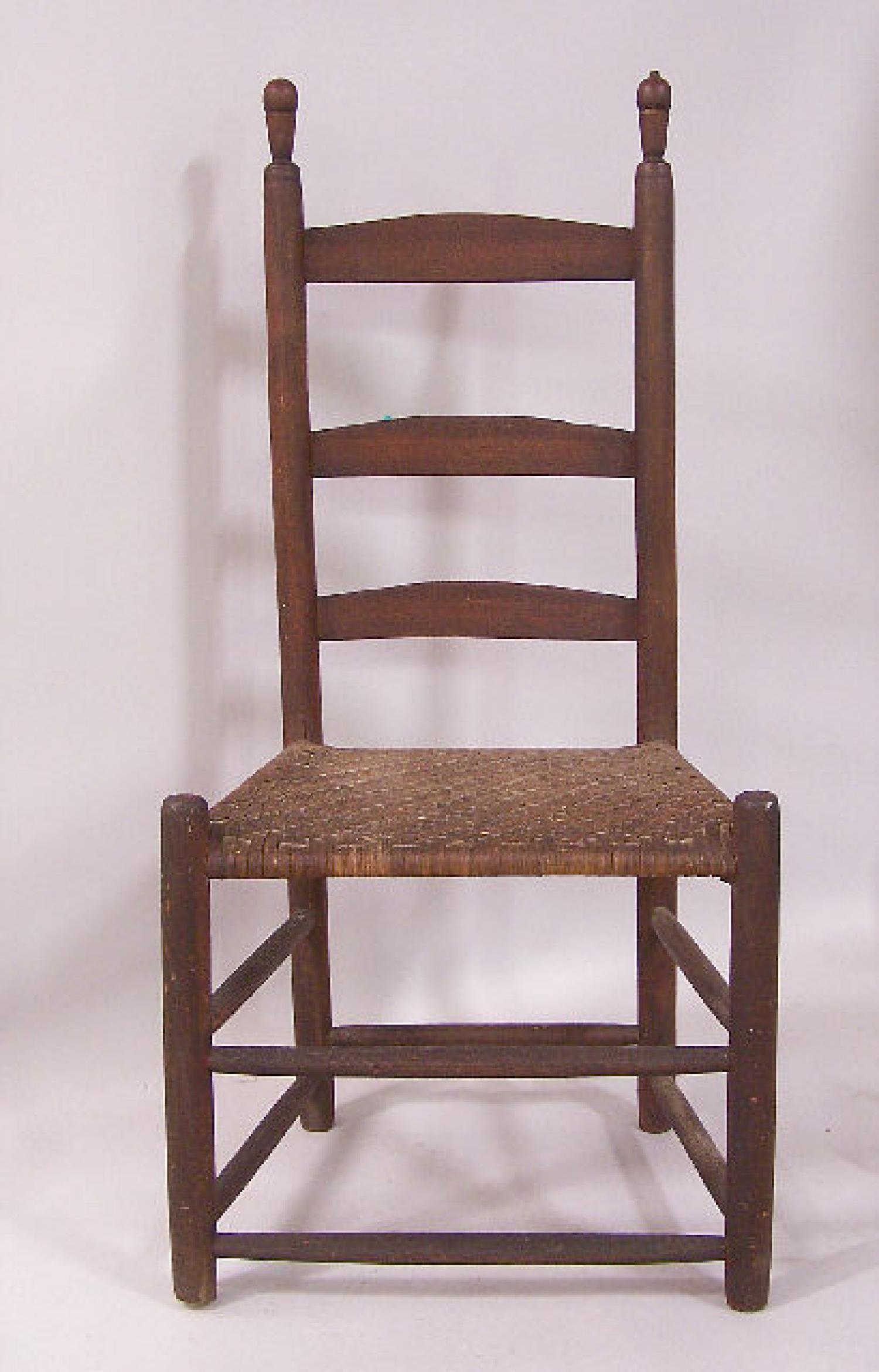 Early American three slat ladder back rush seat chair c1800