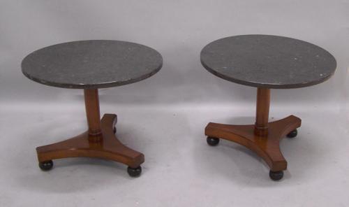 Pair Beacon Hill Biedermeier style marble top end tables