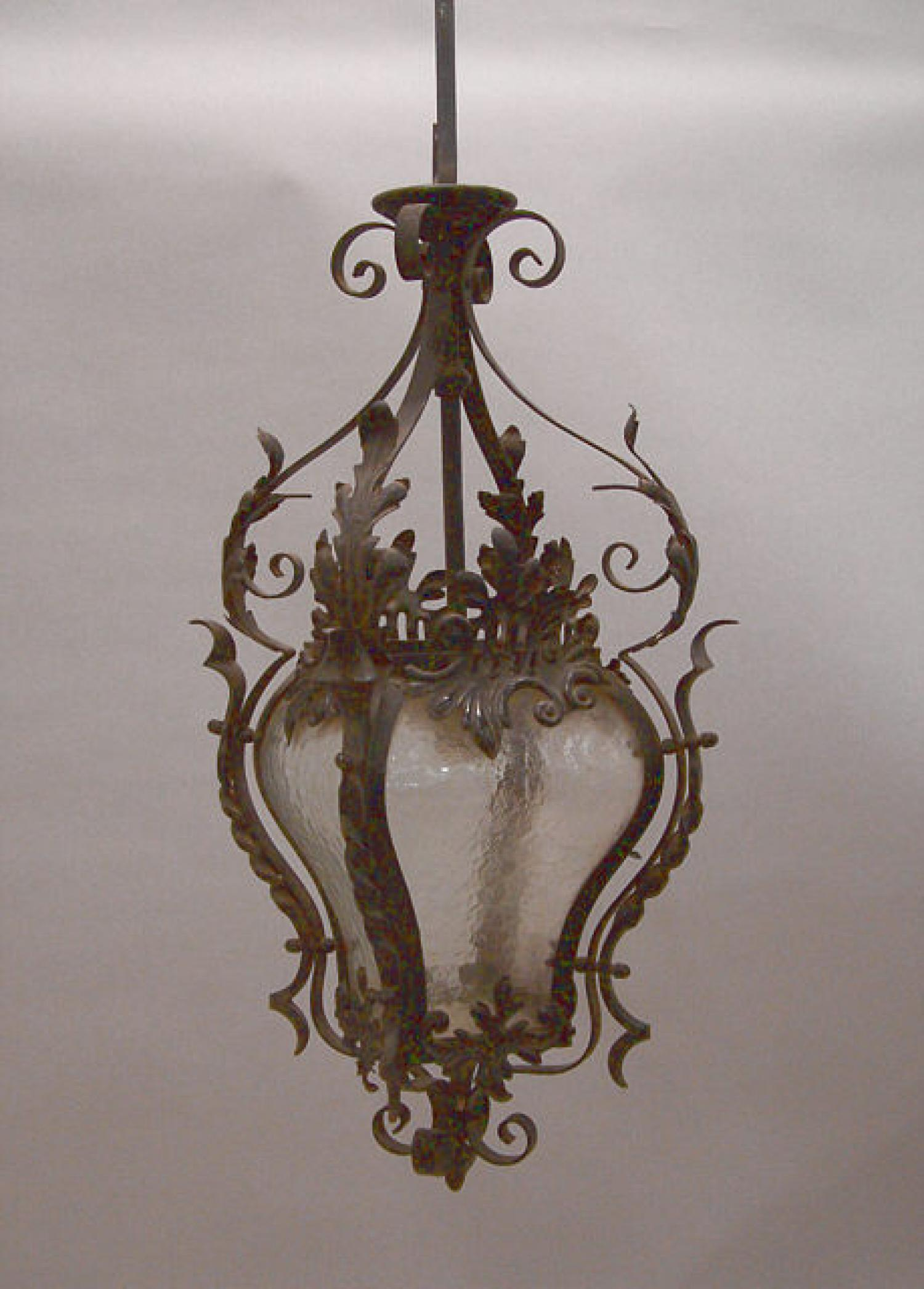 French wrought iron porte cochere lantern c1920