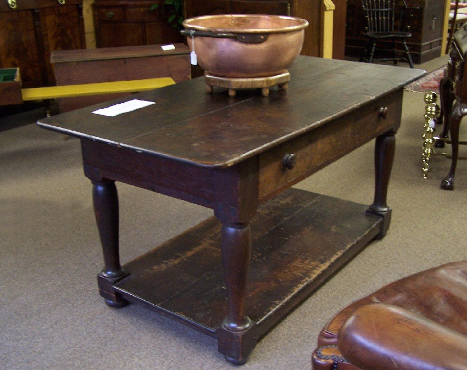 Early American country pine work table with sliding drawer c1830