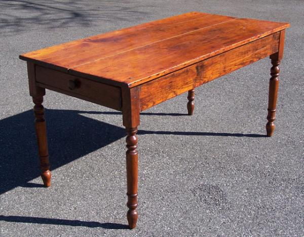 Price My Item Value Of Antique American Country Pine Kitchen Table With Drawer C1830