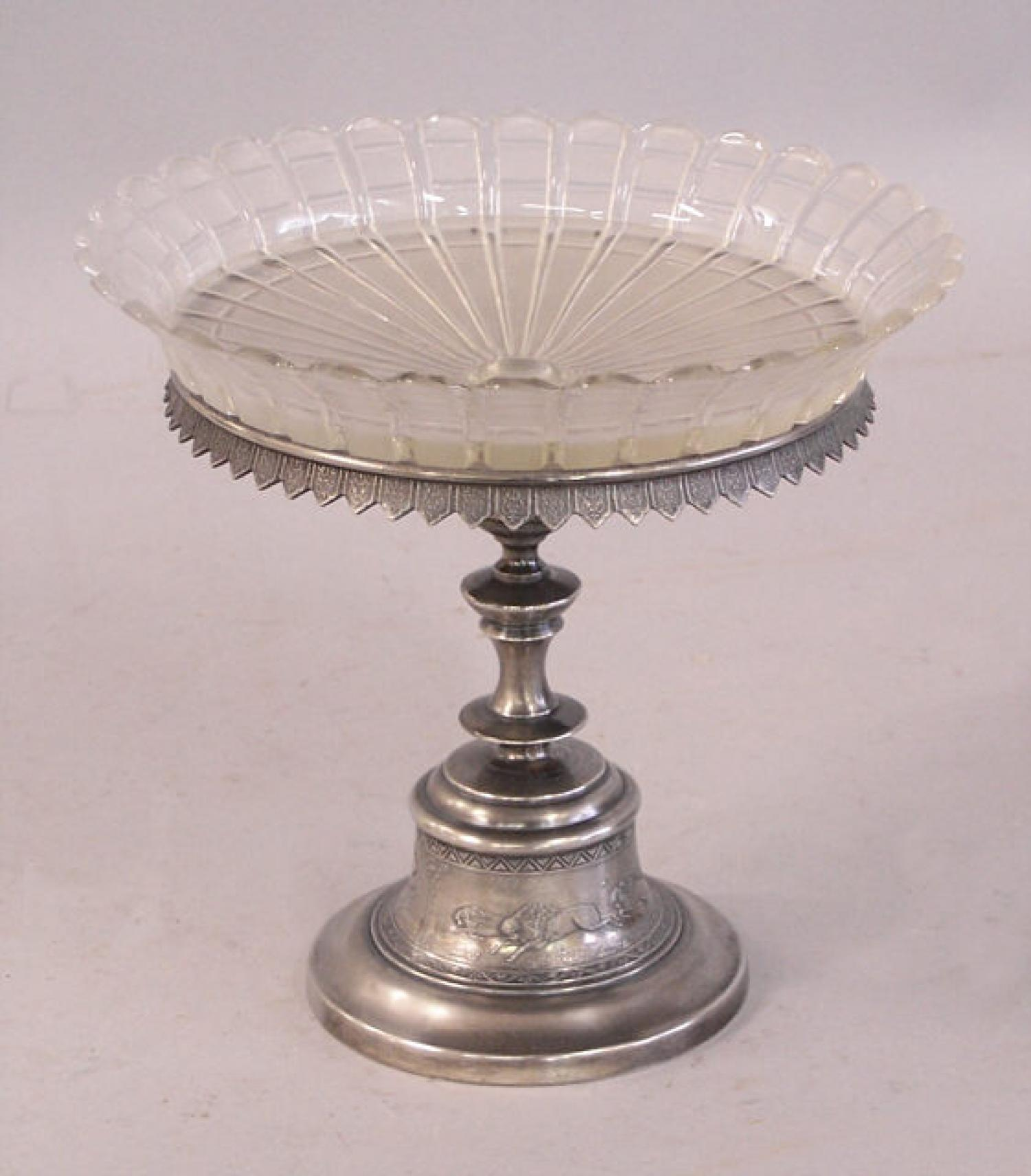 Reed and Barton silver and cut glass pedestal dish
