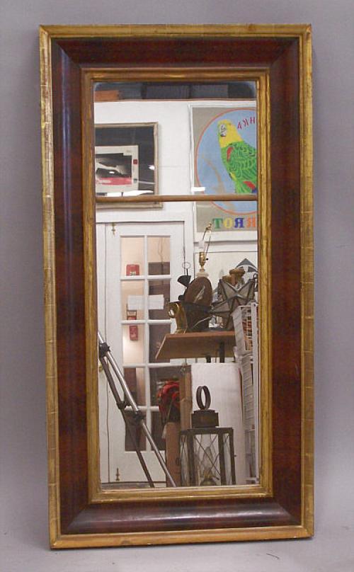Antique American OG mahogany gold leaf wall Mirror c1830