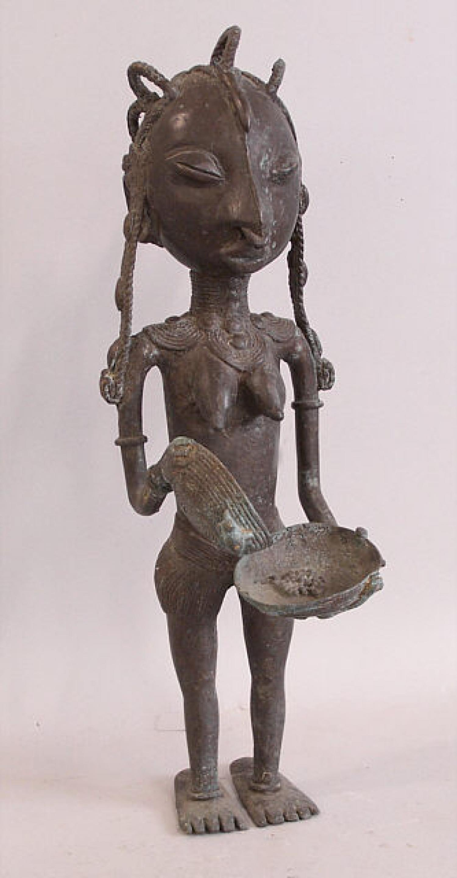 Female African cast brass figure of a woman Obo tribe of Northern Nigeria