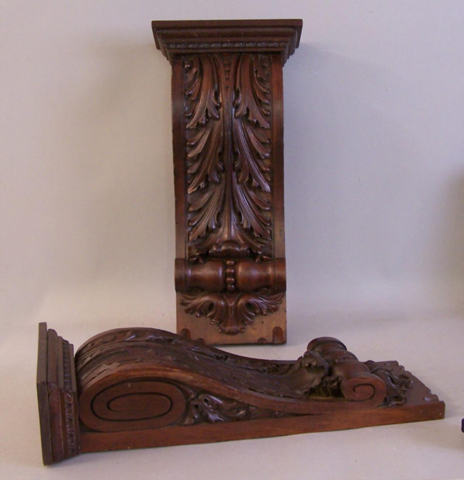 Pair of Victorian mahogany architectural wall brackets c1860
