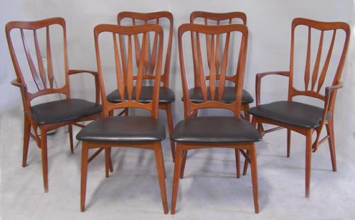 Set of six Danish Teak dining chairs from Koefoeds Hornslet Denmark