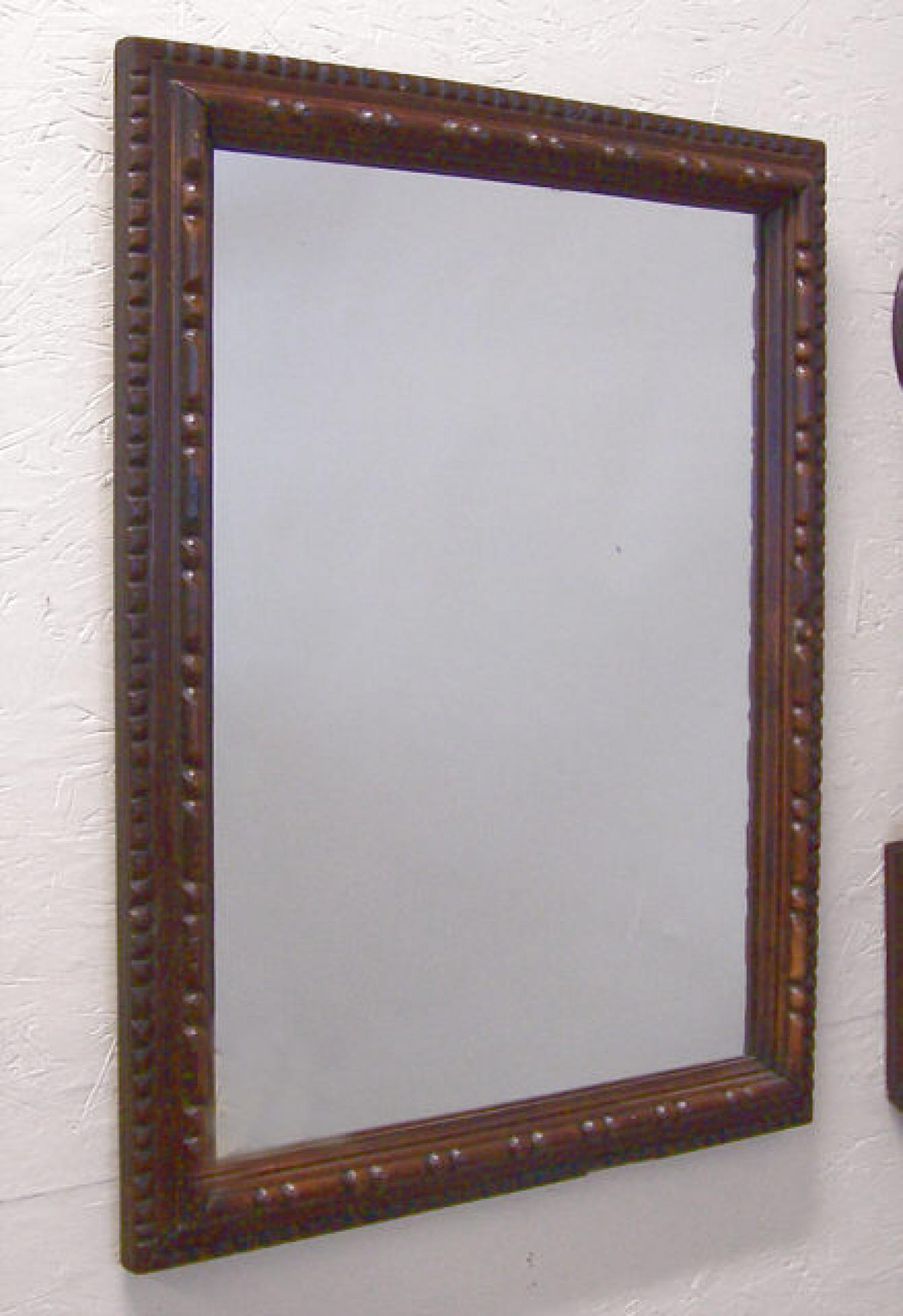 Hand carved antique walnut hanging wall mirror c1880