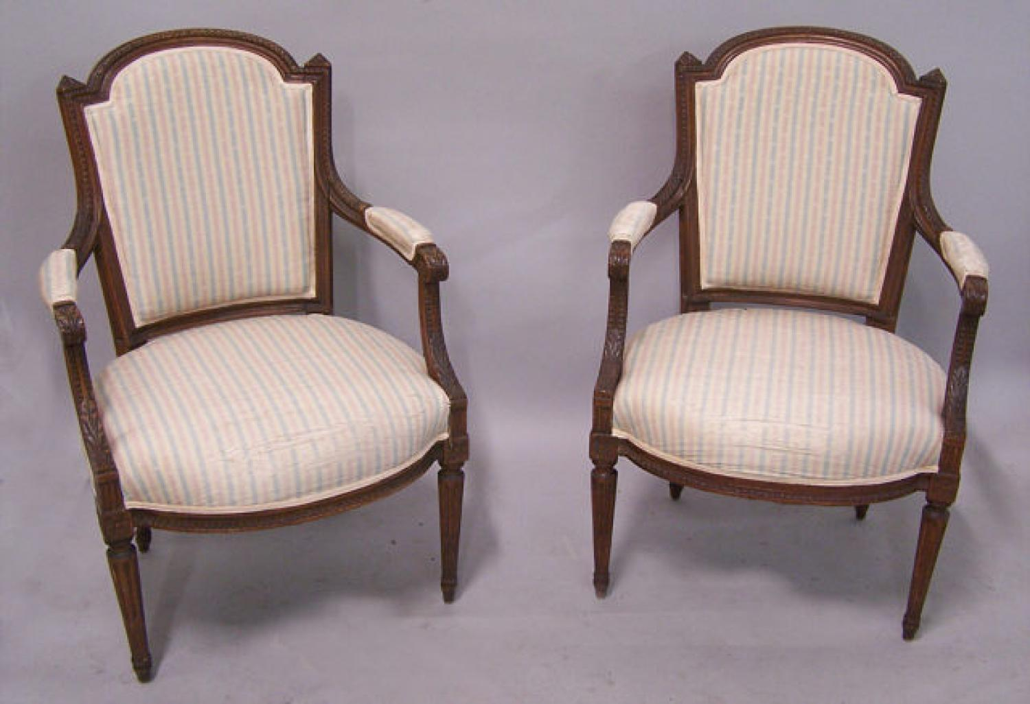 Pair Louis XVI style upholstered armchairs in pink blue stripe
