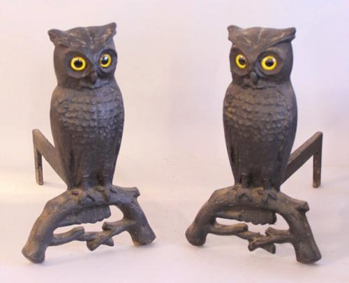 Antique Cast Iron Owl Andirons 1887 with glass eyes
