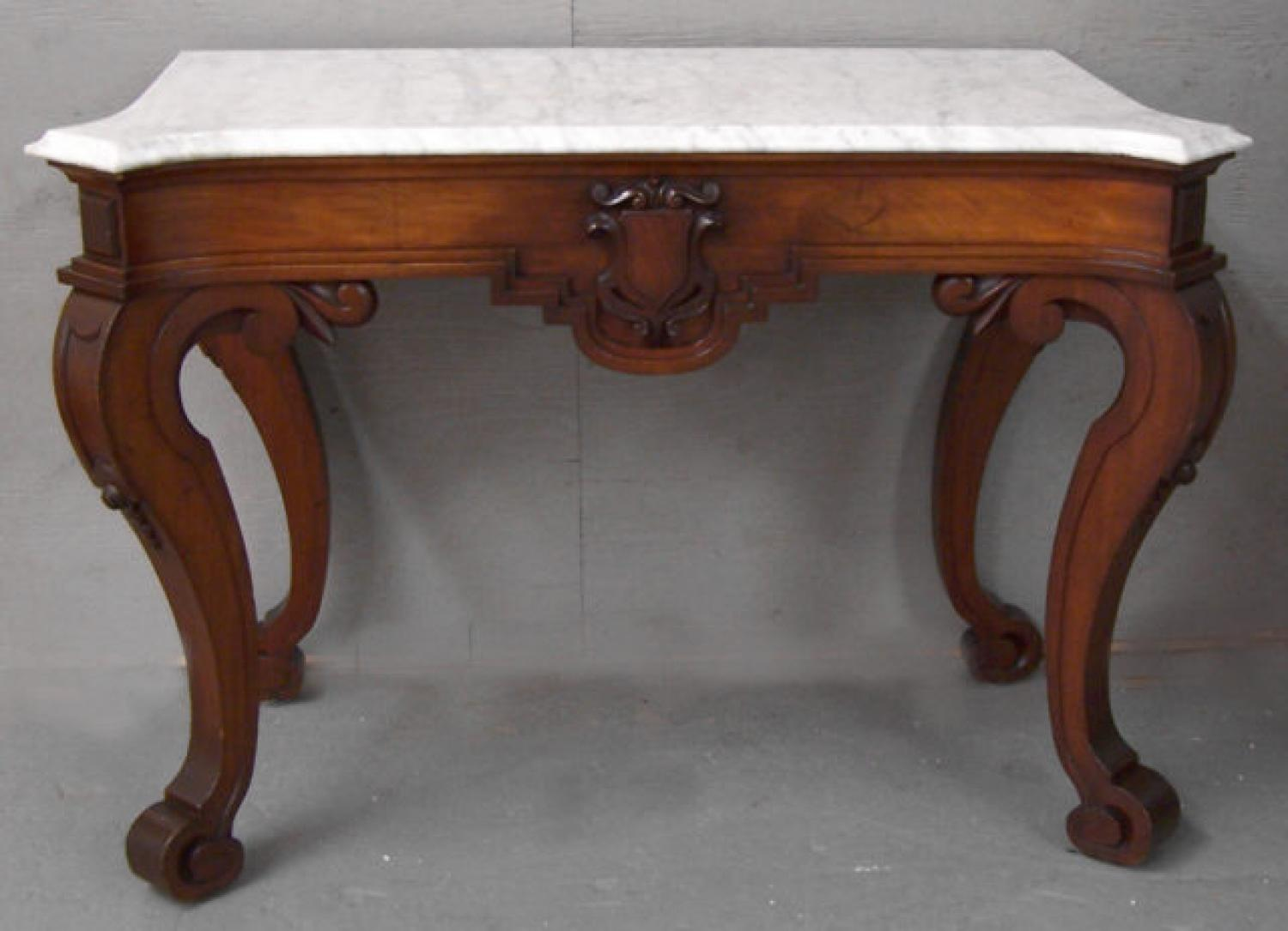 Victorian marble top console table with mahogany base c1860