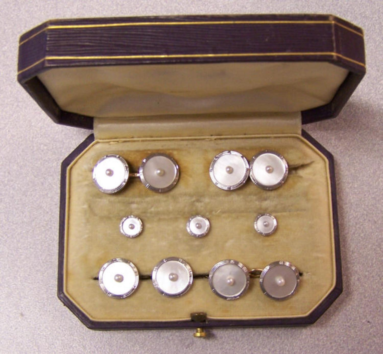 Krementz  white gold and mother of pearl cufflink stud set c1920