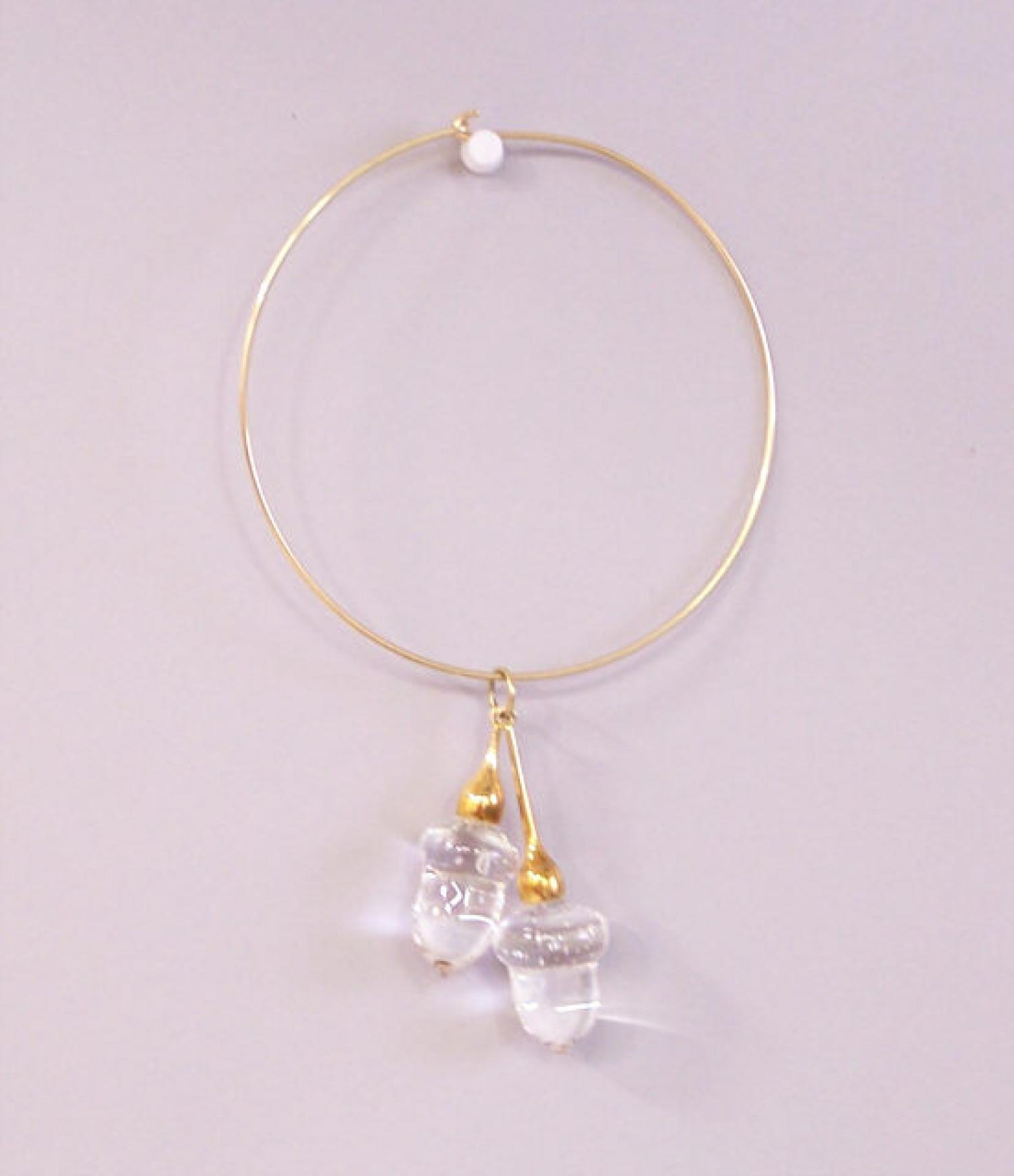 Steuben cut crystal acorn and gold necklace