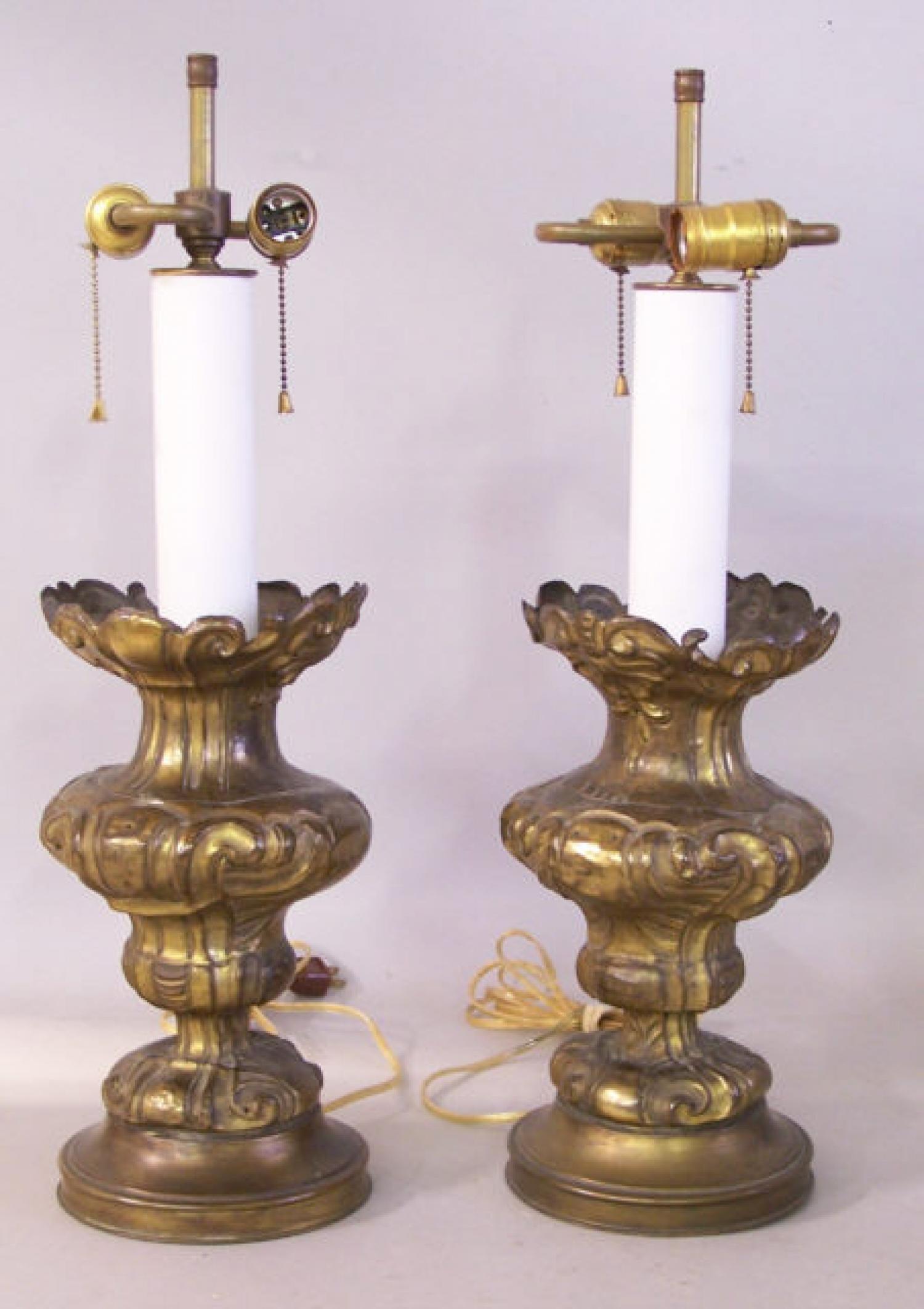 Pair of antique tin repousse Continental lamps c1840