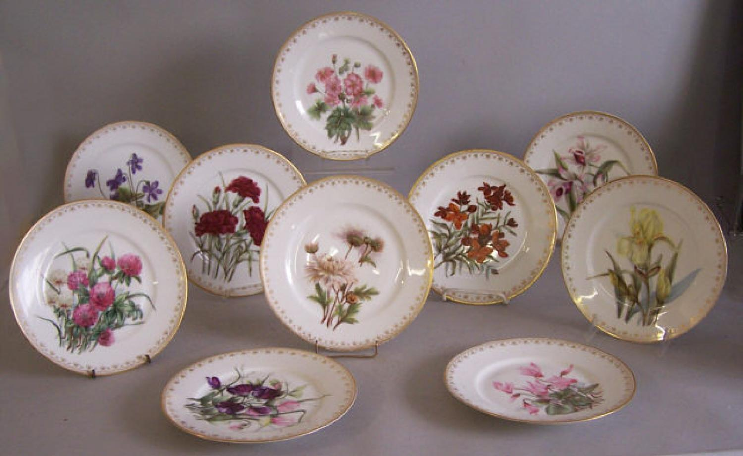 Ten Haviland and company L limoges floral painted plates 1888 to  1896