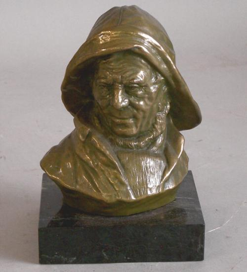 Vintage bronze of a fisherman on marble c1900