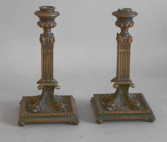 Pair brass column dolphin candlesticks