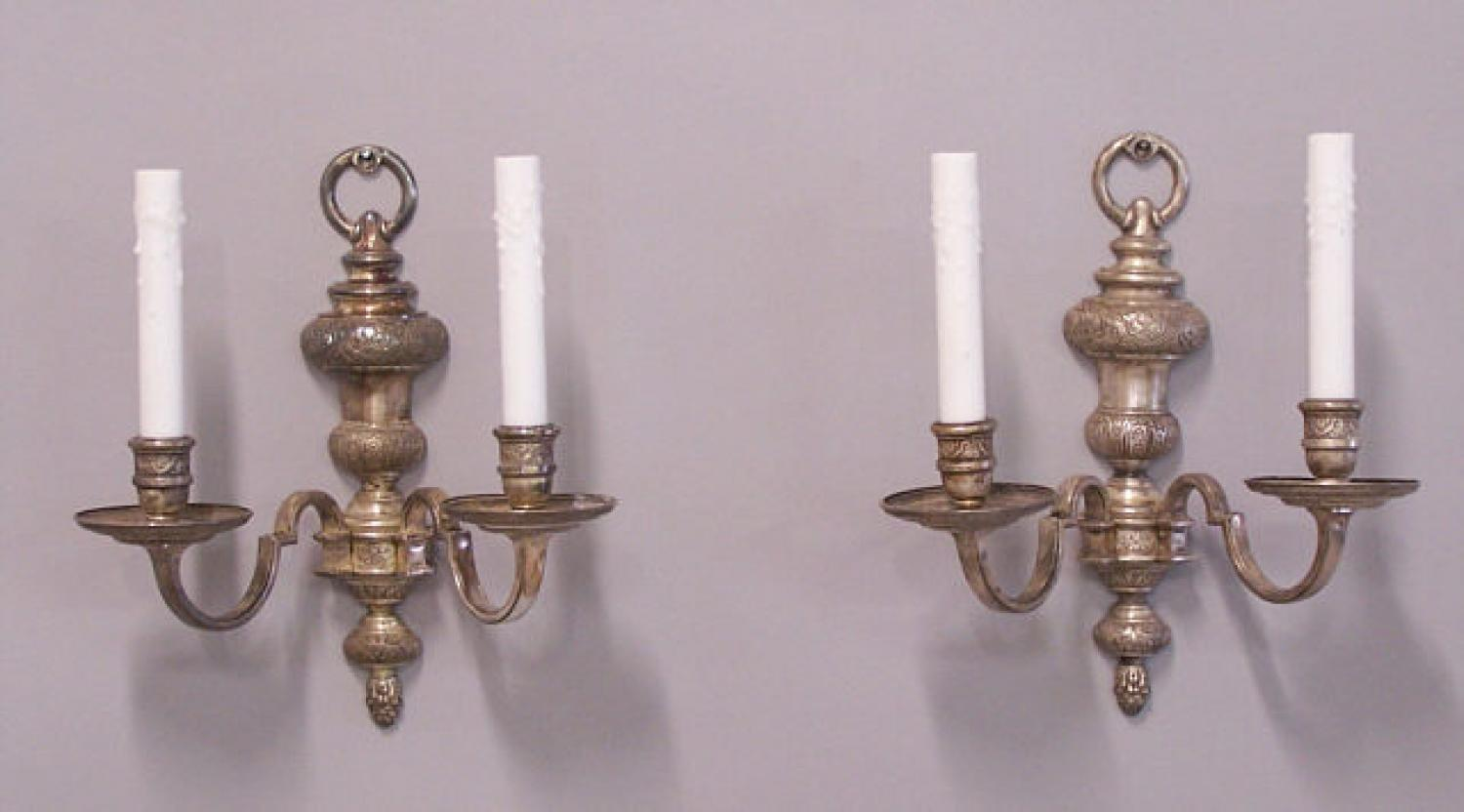 Wall Sconces Double : Pair of silver plated double arm wall sconces c1920
