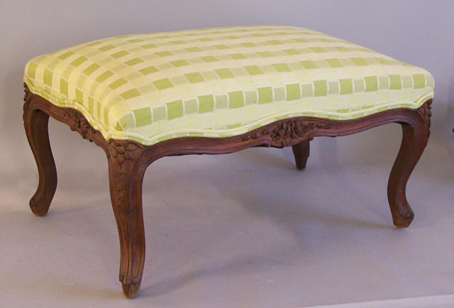 Antique French country carved walnut foot stool c1880