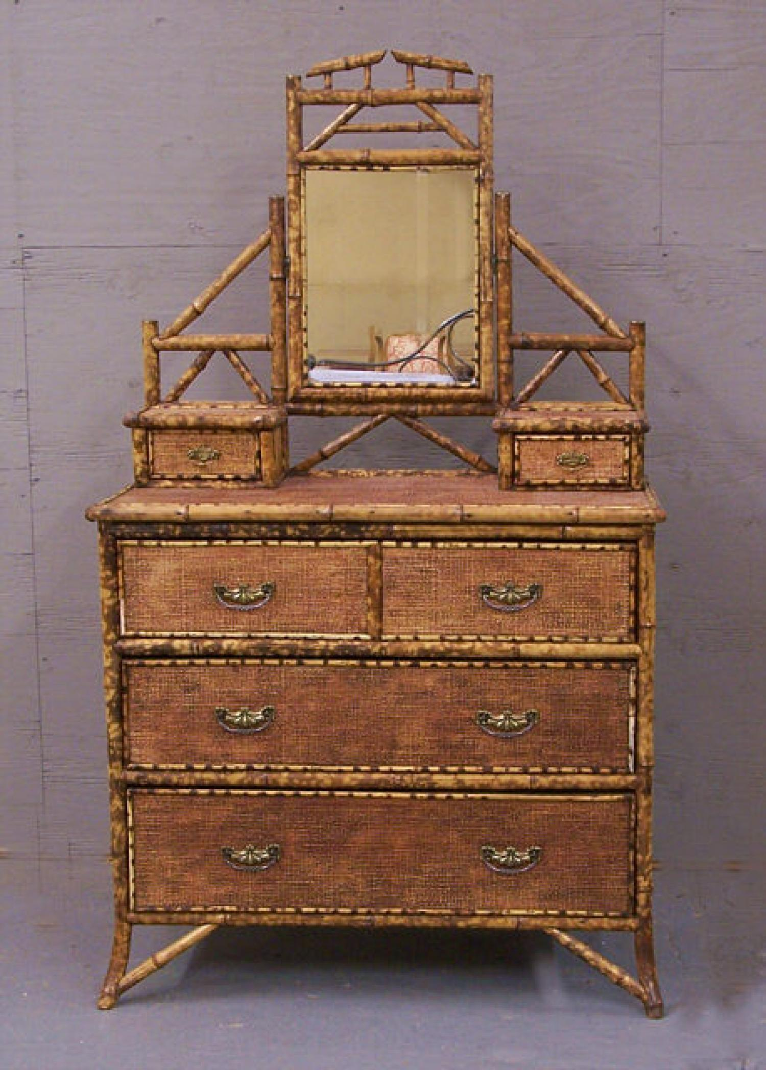 French Bamboo dresser with adjustable mirror 1880