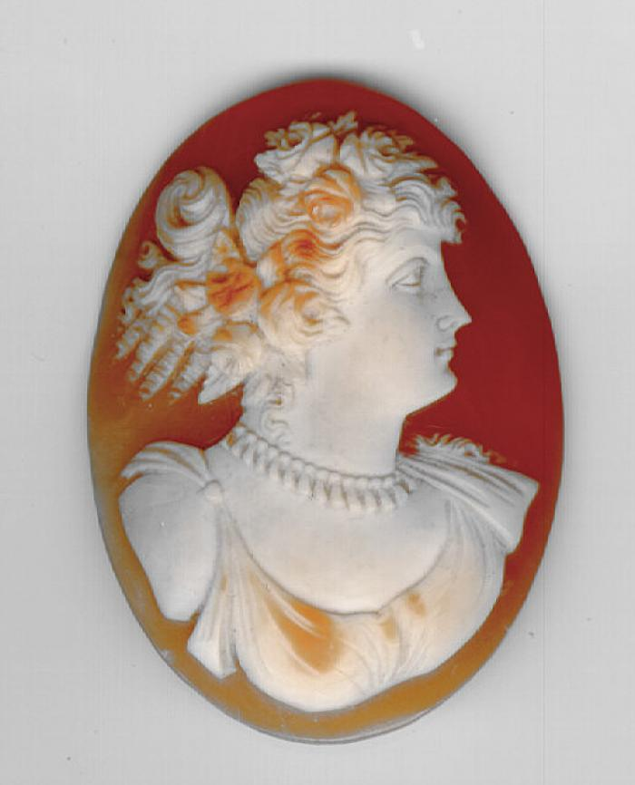 Unframed carved Victorian cameo of a woman c1880