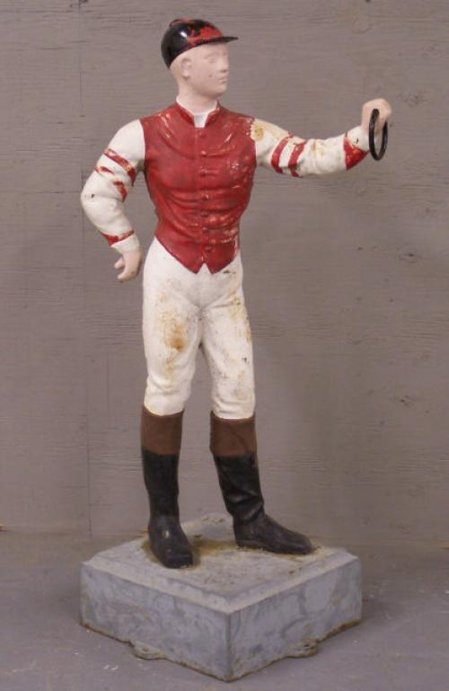 Antique cast iron lawn or garden horse jockey c1900