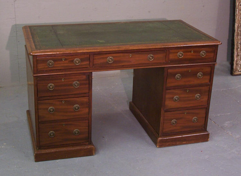 Mahogany Georgian style flat top desk circa 1840 to 1860