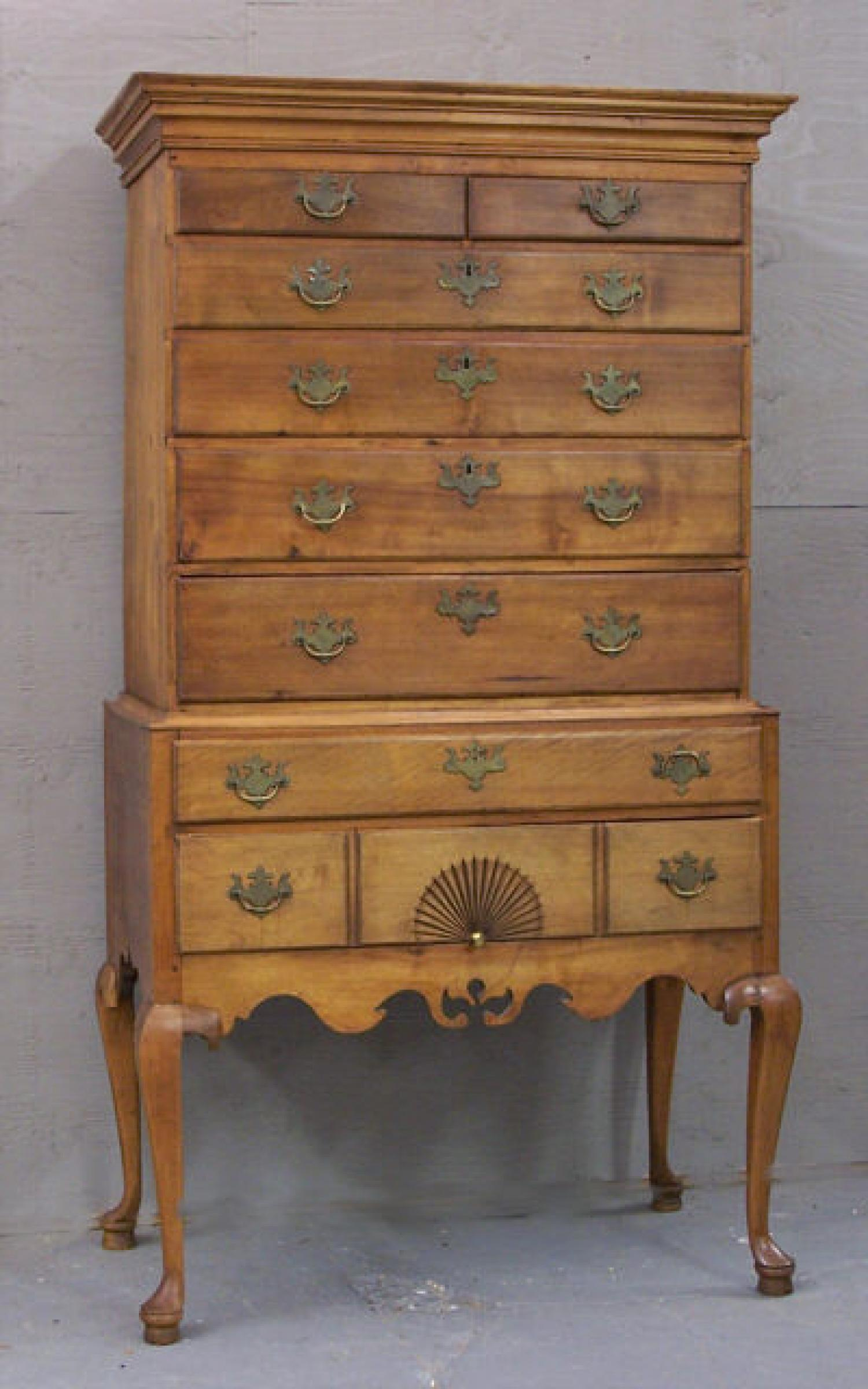 Period American country two piece flat top highboy