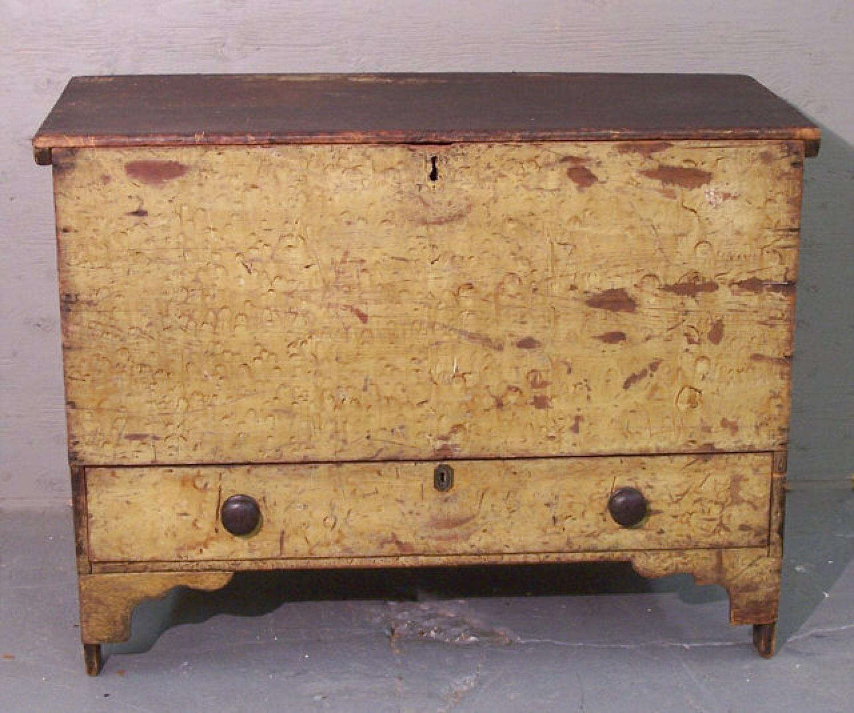 American pine blanket chest in original yellow paint c1780