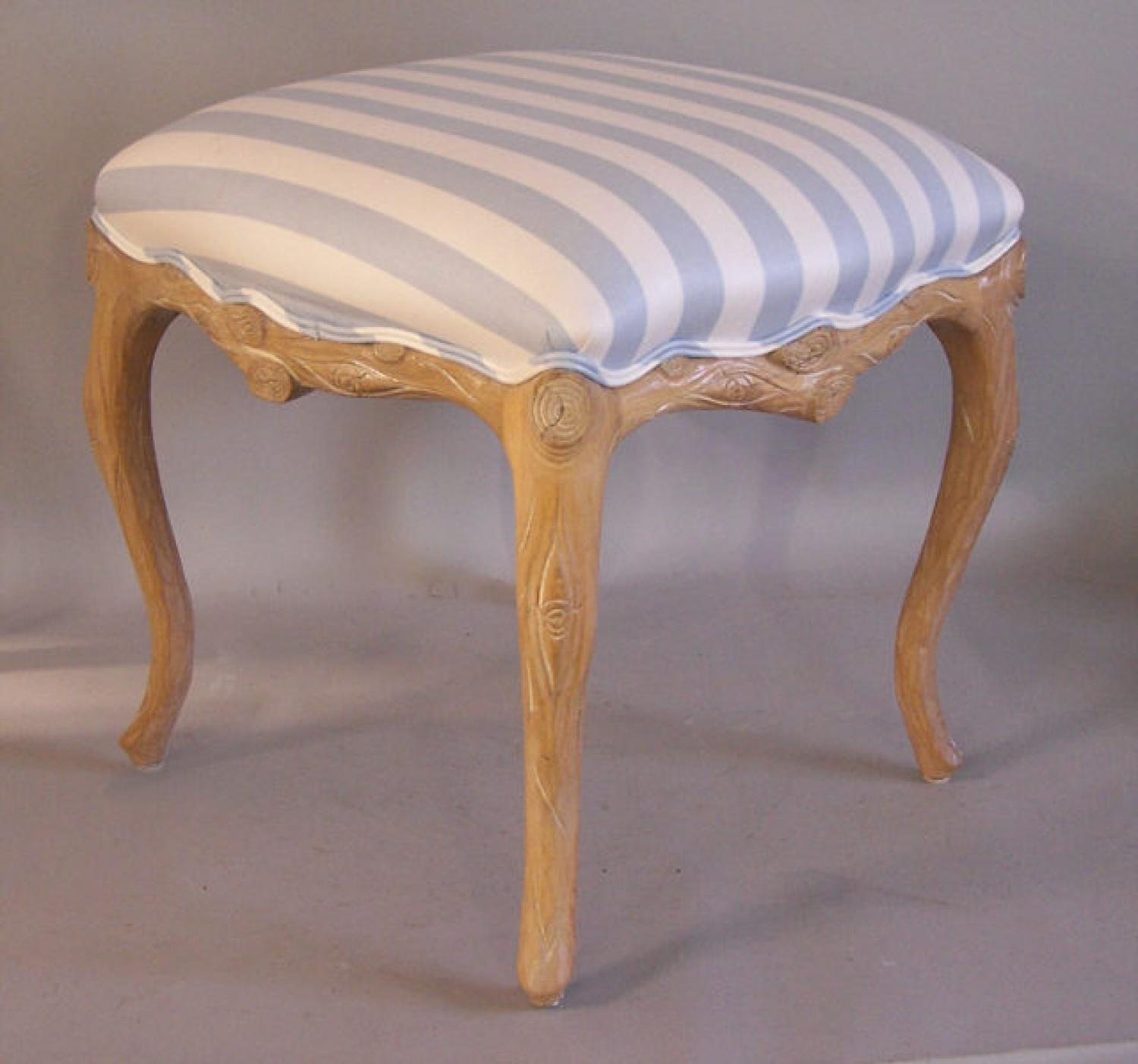 Square hand carved wood bench blue stripe upholstery from Wicker Works