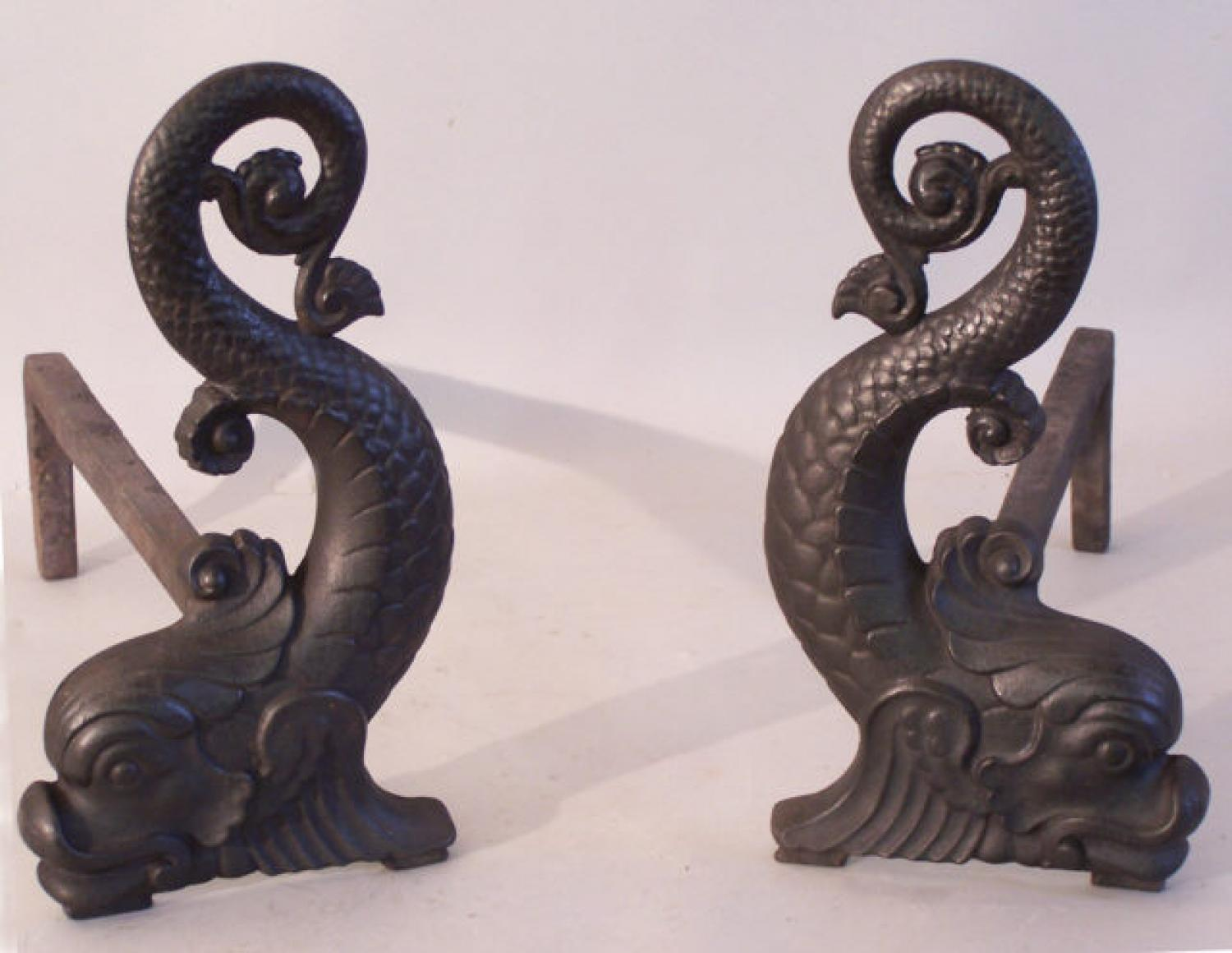 Bradley and Hubbard dolphin cast iron fireplace andirons
