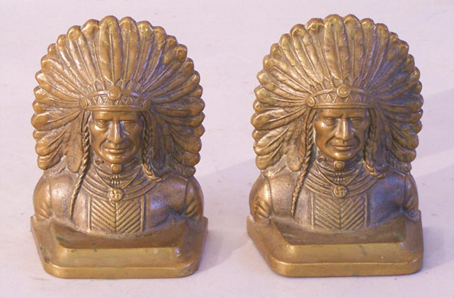 Pair antique bronze Indian Chief bookends c1880