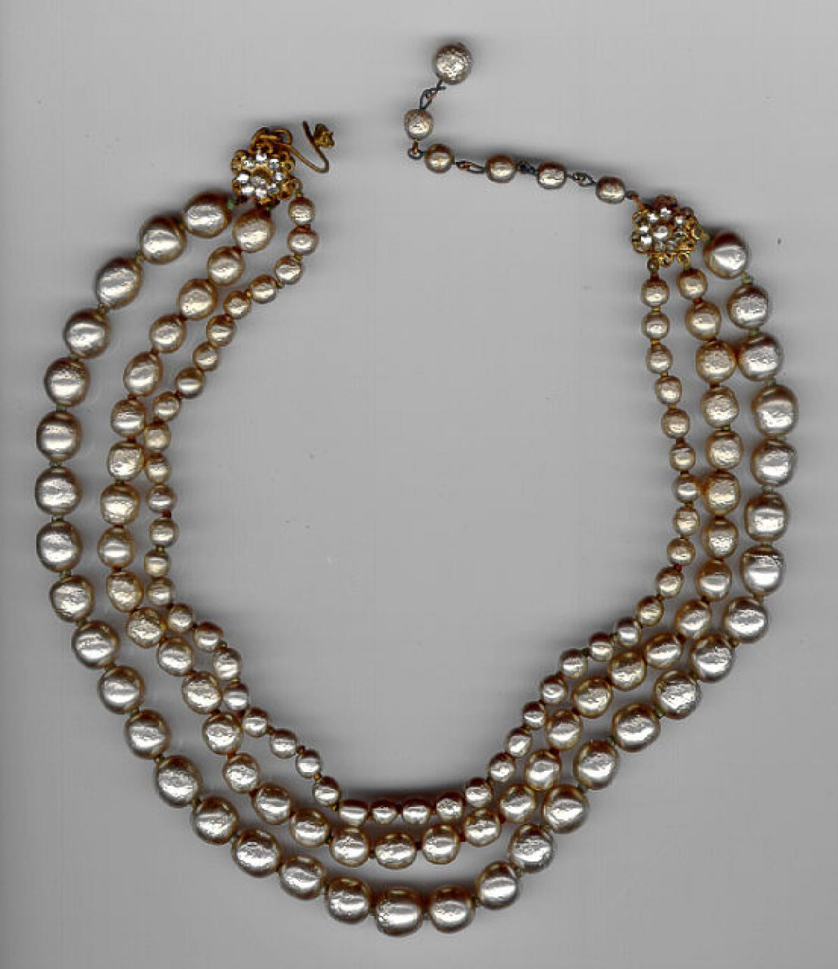 Miriam Haskell Vintage Costume Jewelry Three Strand Pearl Necklace