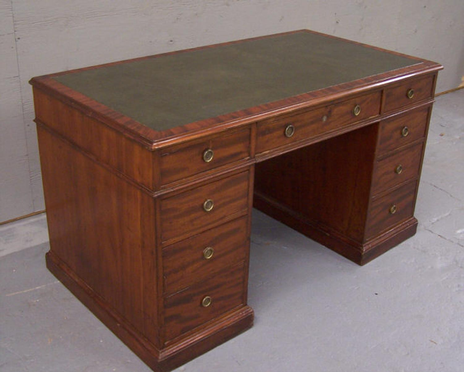 English Georgian flat top desk with leather top c1820 to 1840