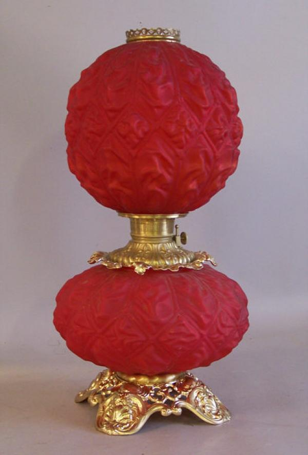 price my item value of gone with the wind red satin parlor lamp c1880. Black Bedroom Furniture Sets. Home Design Ideas
