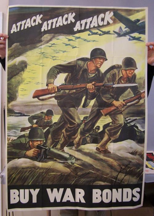 Buy War Bonds Attack Attack Attack World War II poster