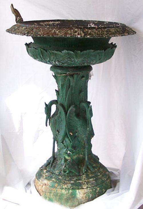 Large  Fisk Victorian outside garden urn with birds