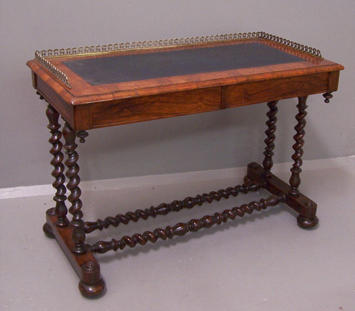English two drawer library table with brass rail c1860