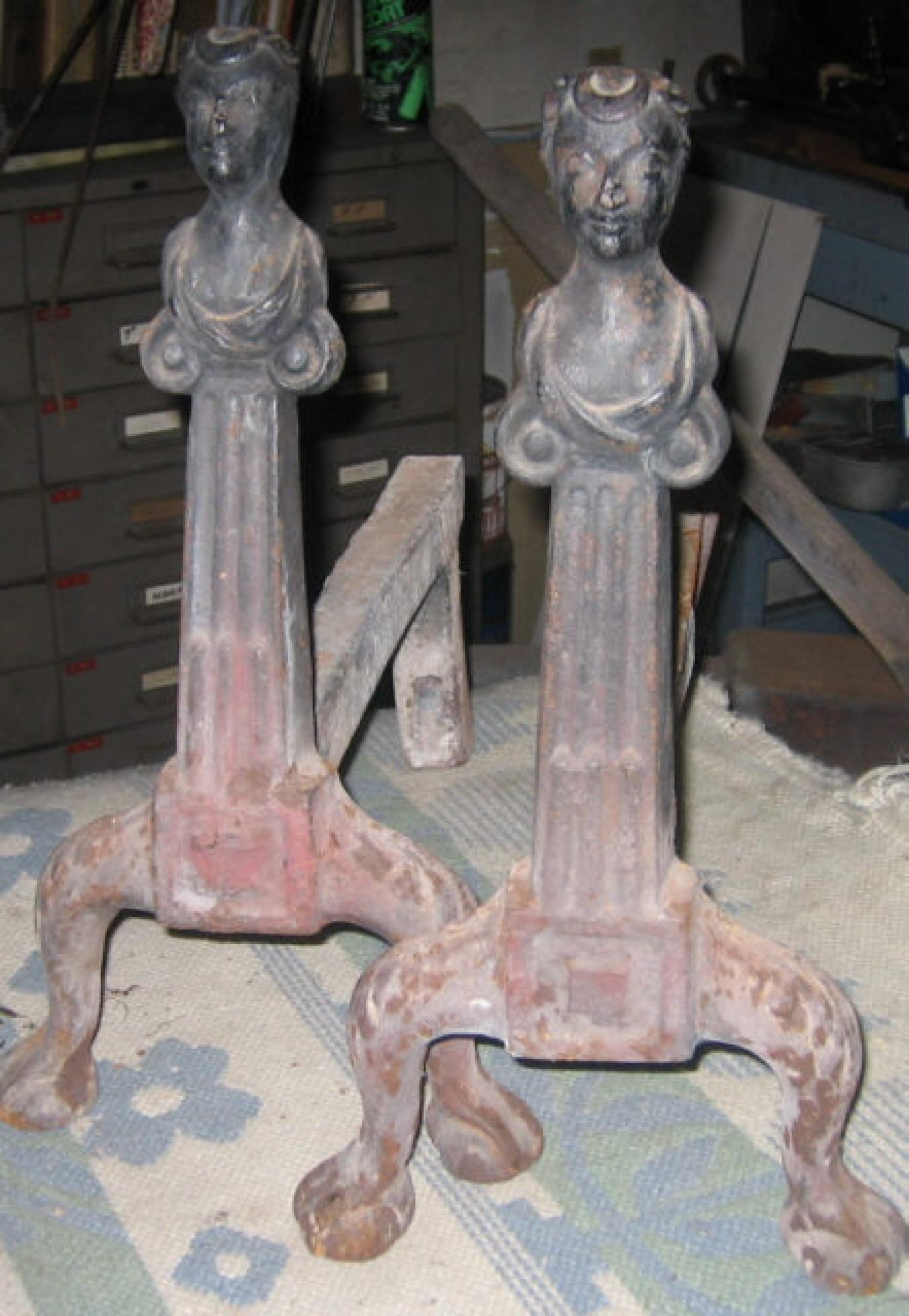 Early American figural cast iron andirons