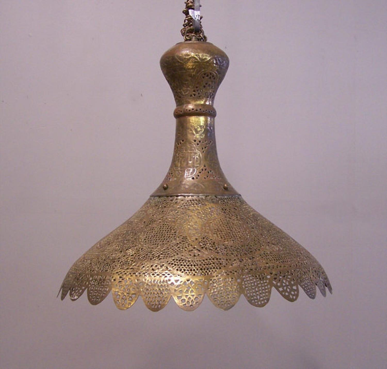 Antique Syria Hanging Brass Filigree Ceiling Fixture