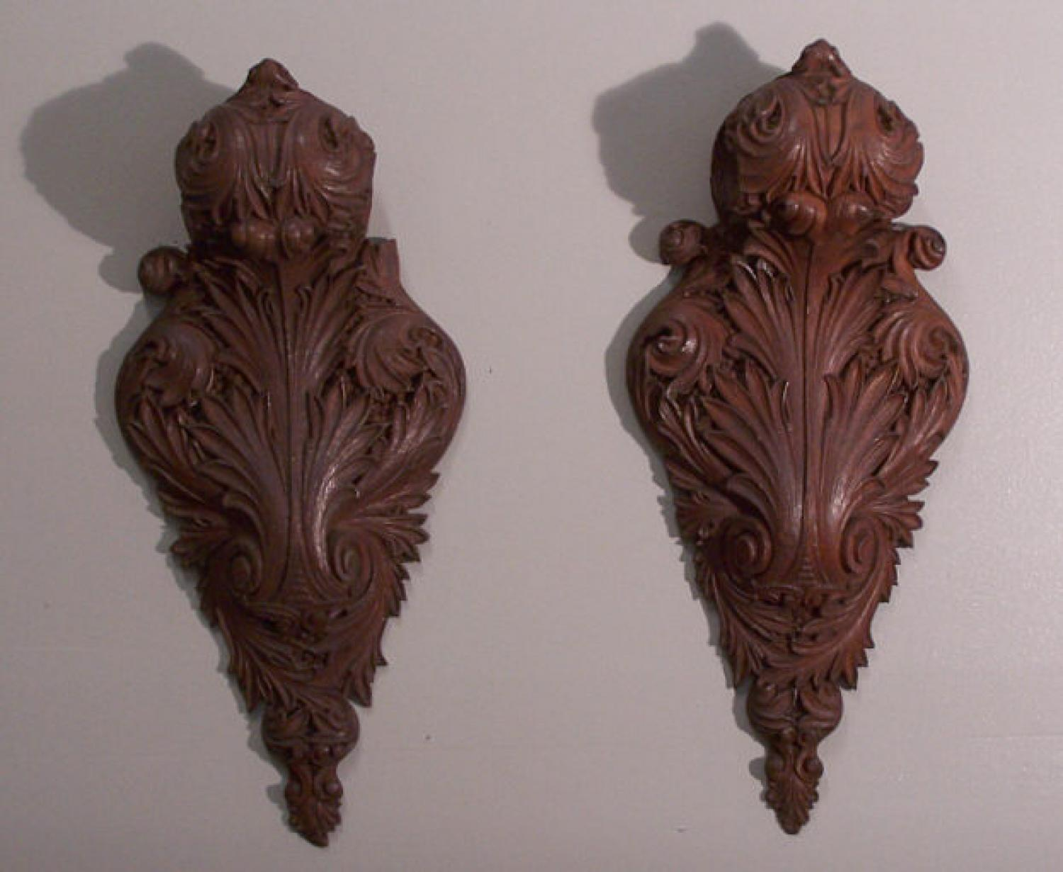 Pair 19th century Oak Architectural wall carvings