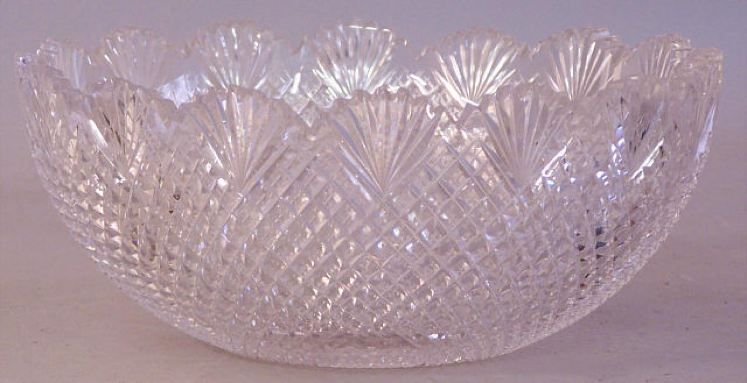 American Brilliant cut glass diamond berry bowl
