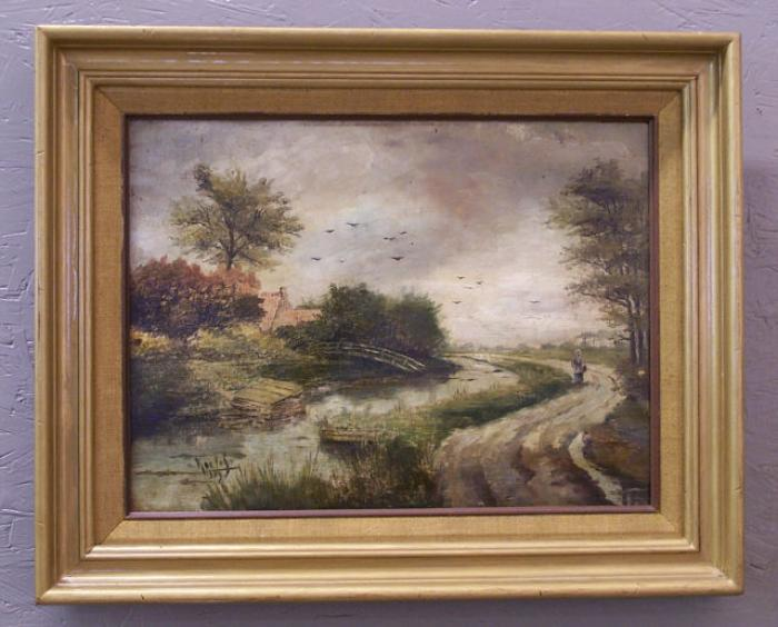 Willem Roelofs Dutch landscape oil painting