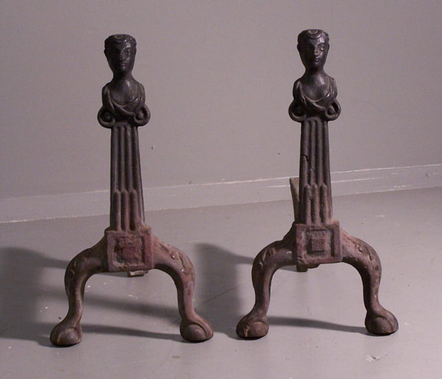 Rare pair of Early American cast iron Andirons 1790